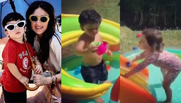Taimur Ali Khan Enjoys A Splash In Baby Pool With BFF Kainaat Singha, His Expression Is Adorable