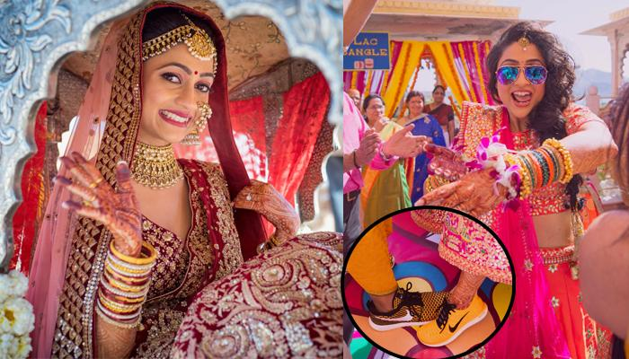 Cool Bride Wore Sneakers Below Her 'Lehenga' And Entered In 'Pholoon Ki Doli', Creating New Trend