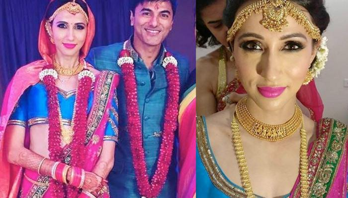 Single Mother Alesia Raut Married TV Actor Siddhaanth In Fuschia Pink And Blue Coloured Lehenga