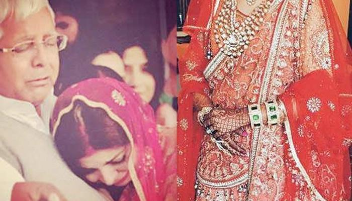 Lalu Prasad's Daughter Wore An Orange Lehenga Studded With Swarovski Crystals For Her Wedding