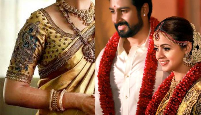 South Actress Bhavana's Bridal Blouse Sleeve Was Hand Embroidered By 25 Artisans For One Month