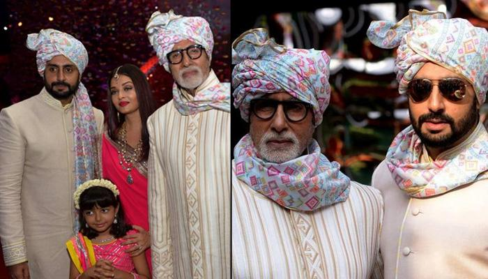 Amitabh Bachchan Twining With Abhishek Bachchan At A Family Wedding Is Giving Father-Son Goals