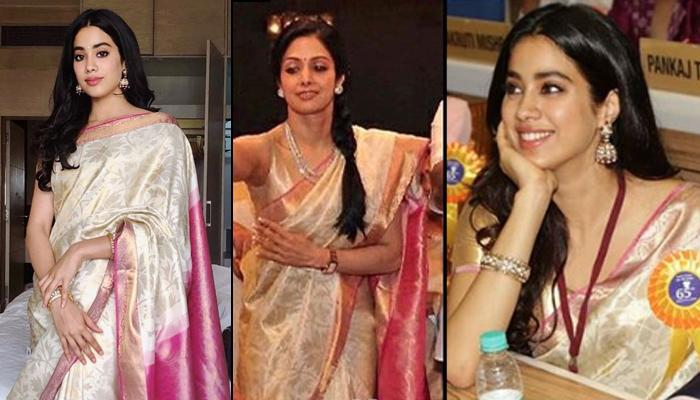 Janhvi Kapoor Wears Mom Sridevi's Saree At The 65th National Film Awards, Looks Like Her Reflection