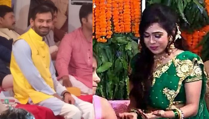 Lalu Prasad's Son, Tej Pratap And To-Be-Wife Aishwarya Rai Look Beautiful In Their Lavish 'Mehendi'