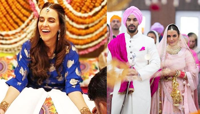 Neha Dhupia's 'Hatke' Outfit On Her Mehendi That Is Neither A Lehenga Nor A Gown, Check Full Picture