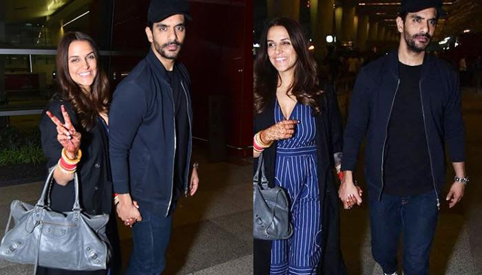 Newly-Weds Neha Dhupia And Angad Bedi Leave For Honeymoon, Pose Hand In Hand At The Airport