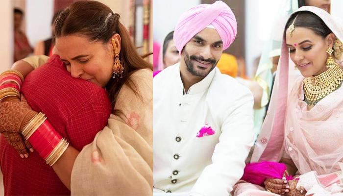 Emotional Neha Dhupia Hugs Her Dad And Cries Her Heart Out During Her 'Vidaai' Ceremony