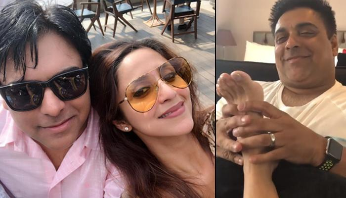 Ram Kapoor Pampering And Massaging His Wife Gautami Kapoor On A Lazy Sunday Is Every Wife's Dream