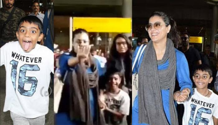 Kajol Is Embarrassed And Apologises To The Media After Son Yug Devgn Teases Them At The Airport