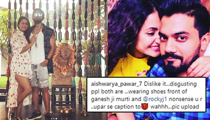 Hina Khan And Rocky Jaiswal Get Hillariously Trolled For Wearing Shoes In Front Of Ganesha Idol
