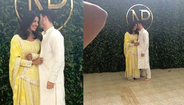 Priyanka Chopra And Nick Jonas First Look From 'Roka' Ceremony, Strike Romantic Pose Together