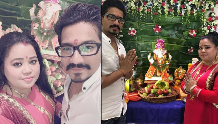Newly-weds Bharti Singh And Haarsh Limbachiyaa Celebrate 'Ganesh Chaturthi' With Family And Friends