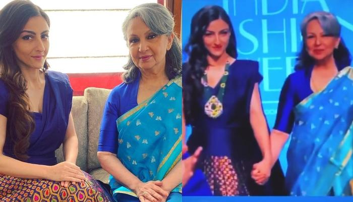 Soha Ali Khan Twins With Mother, Sharmila Tagore In A Blue Ensemble At Lotus Fashion Week 2019