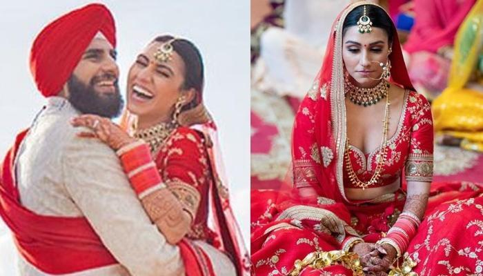 This Sikh Bride Wore A Signature 'Jaal' Embroidered Sabyasachi Lehenga With Minimal Jewellery