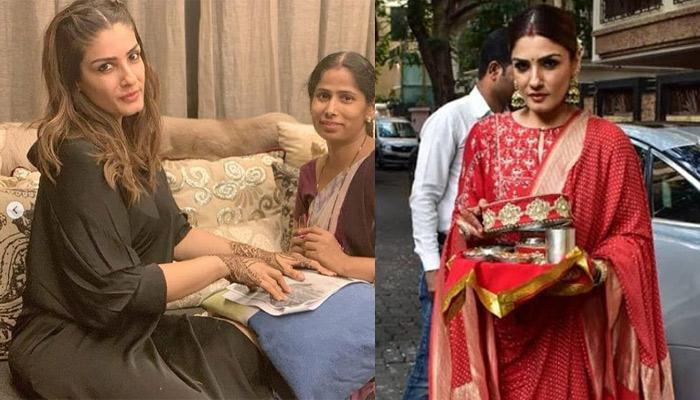Raveena Tandon Flaunts Her Beautiful Karwa Chauth 'Mehendi' And Looks Stunning In A Red Suit