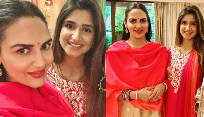 Esha Deol Takhtani Celebrates Karwa Chauth Puja With Other Takhtani Bahus, Looks Ravishing In Red
