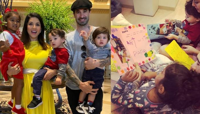 Sunny Leone's Kids, Nisha, Noah And Asher Make Cute Cards For Their Father, Daniel Weber's Birthday