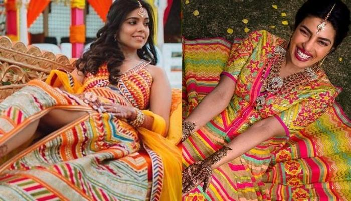 This Bride Wore A Lehenga Similar To Priyanka Chopra's Mehendi Lehenga, But Added A Side Slit To It