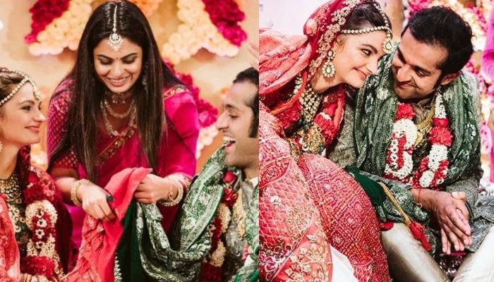 Isha Ambani Ties 'Gathbandhan' At Her School Friend, Dheer Momaya's Wedding, Looks Stunning In Pink