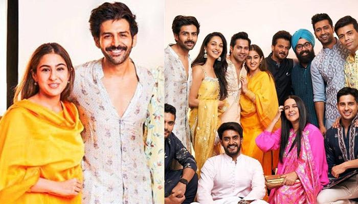 Sara Ali Khan And Kartik Aaryan Pose Next To Each Other At Dharma Diwali Puja Amidst Breakup Rumours