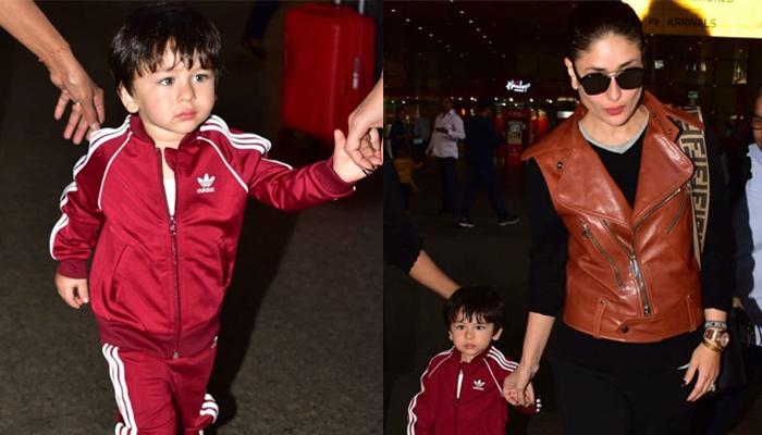 Taimur Ali Khan Looks Dapper In A Maroon Tracksuit As He Returns To Mumbai With Mommy Kareena Kapoor