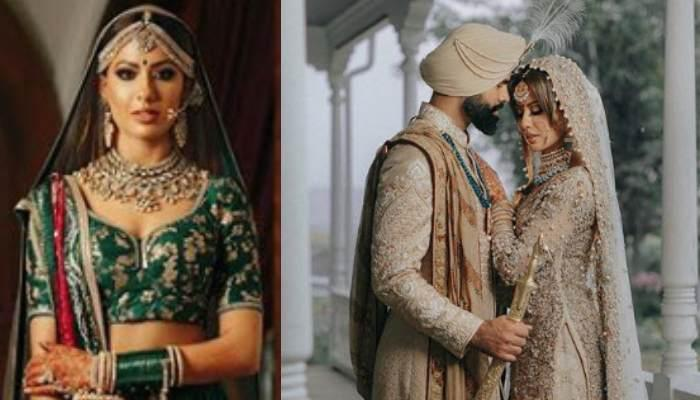This Sikh Bride Wore Beige-Coloured Sharara On Her Wedding, Also Wore A Green Sabyasachi Lehenga