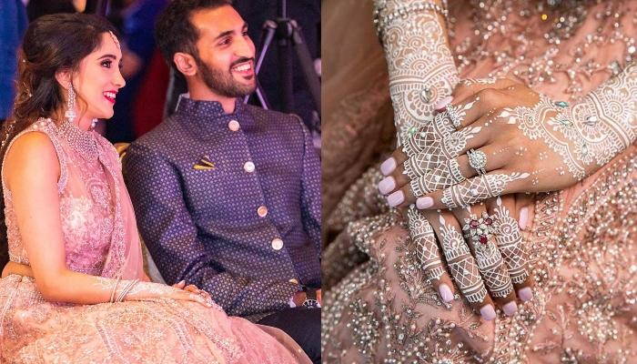 This Bride Flaunts White Mehendi On Her Wedding, Unique Boho Henna Design With Studs Is Showstopper