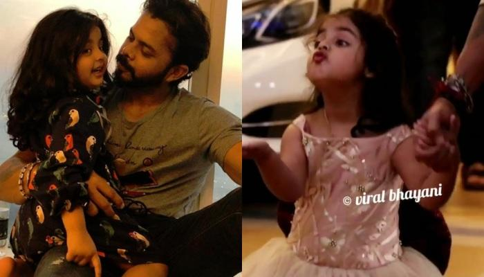 Sreesanth's Daughter Gives Flying Kiss To Media As The Family Arrives For A B'Day Party [Video]