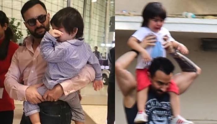 Saif Ali Khan Is A Doting Father As He Gives Crying Taimur Ali Khan A Piggyback Ride