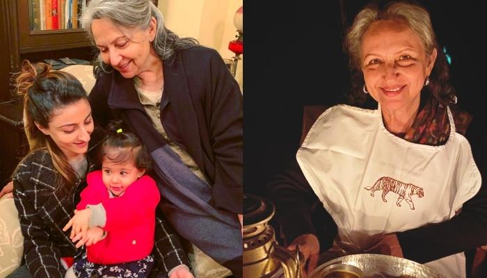 Inaaya Naumi Kemmu Cutely Helps 'Naani', Sharmila Tagore In Cutting Her Birthday Pancake