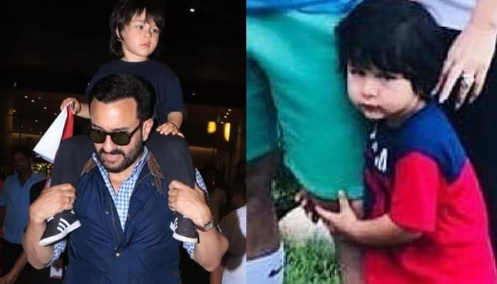 Taimur Ali Khan Is A 'Daddy's Boy' As He Clings To Papa, Saif Ali Khan's Leg In The Latest Picture