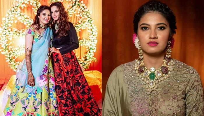 Sania Mirza's Baby Sister, Anam Mirza Dazzle In A Pastel Green Lehenga At Her Sangeet Night