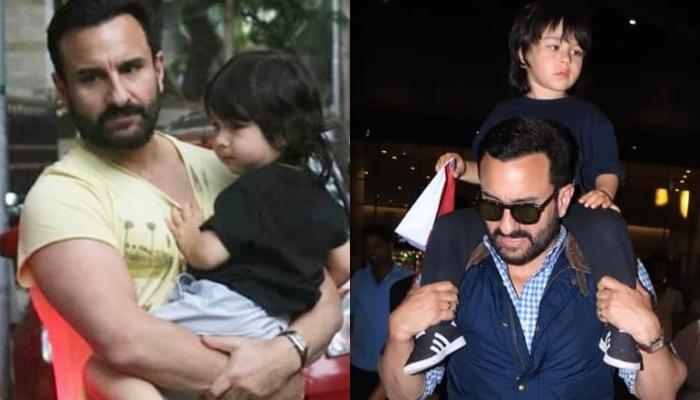 Taimur Ali Khan Looks Adorably Cute As He Curls Up In His 'Abba', Saif Ali Khan's Arms