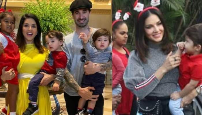 Sunny Leone Accompanying Her Kids, Nisha, Asher And Noah To A Christmas Party Is Pure Mother Goals