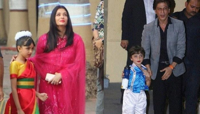 Aaradhya Bachchan Donnes A Saree And AbRam Khan Looks Adorable In Red Lipstick For Their Annual Day