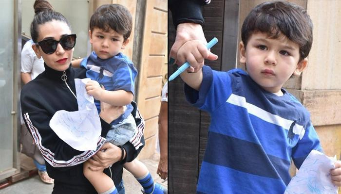 Karisma Kapoor Hangs Out With 'Jaan' Taimur Ali Khan, While He's Busy Doodling With Pen And Paper