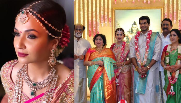 Rajinikanth's Daughter, Soundarya Looked Dreamy In Pink Abu Jani-Sandeep Khosla Saree At Her Wedding