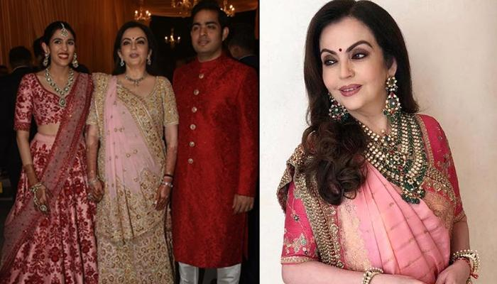 Nita Ambani Glows In Sabyasachi Outfit And Heritage Jewellery At Akash-Shloka's Pre-Wedding Function