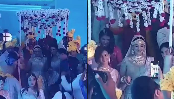 Neeti Mohan's Bridal Entry With Phoolon Ki Chaadar Holding Her Sisters Mukti-Shakti's Hands [VIDEO]