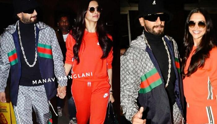 Ranveer Singh Wouldn't Let Go Of Deepika At Airport As They Leave To Unveil Her Wax Statue [VIDEOS]