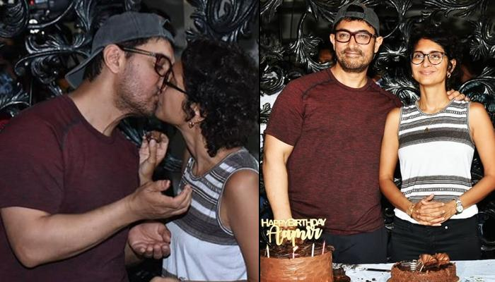 Aamir Khan And Kiran Rao Share A Romantic Lip-Lock At His 54th Birthday Celebrations With The Media