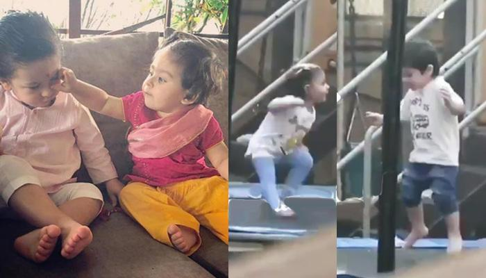 Taimur And Inaaya Jumping Crazily On Trampoline, Look At Her Funny Smile After Falling Down [VIDEOS]