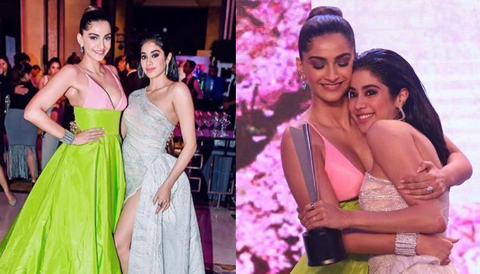 Janhvi Kapoor Cuddles Big Sister, Sonam Kapoor Ahuja After Receiving Award, Both Look Resplendent