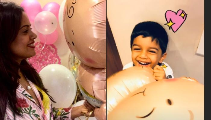 Sameera Reddy Enjoys Her Pink Snowflake Baby Shower With Son, Hans Varde [Pictures Inside]