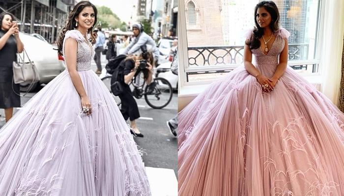 Isha Ambani Piramal Steals The Show Wearing A Feather Gown And Chunky Diamonds At Met Gala 2019