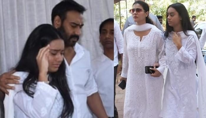Ajay Devgan's Daughter, Nysa Devgan Breaks Down At Her Grandfather, Veeru Devgan's Prayer Meet