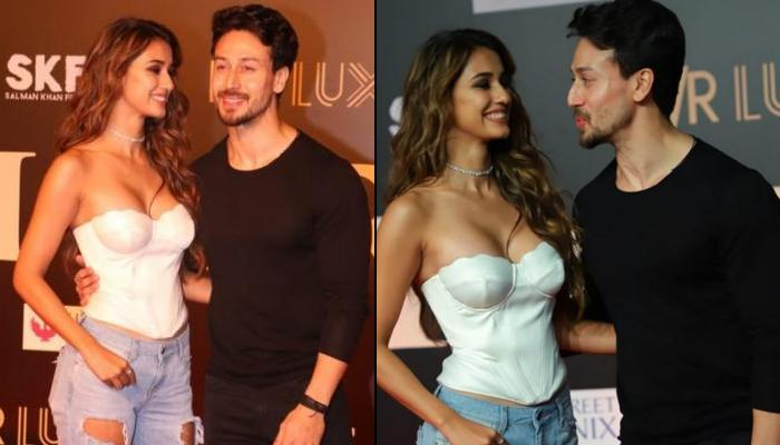 Disha Patani Can't Take Her Eyes Off Tiger Shroff As He Happily Poses For Media At 'Bharat' Premiere