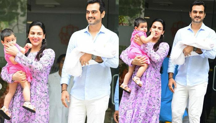 Esha Deol And Bharat Takhtani Take Second Daughter, Miraya Takhtani Home, Pose For A Family Picture