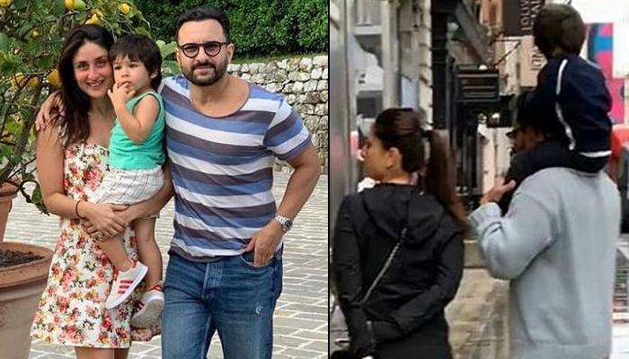 Saif Ali Khan And Kareena Kapoor Khan Enjoy The London Rain, Taimur Ali Khan Is Loving His Piggyback