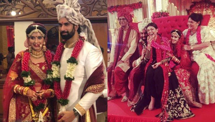 First Look Of Charu Asopa And Rajeev Sen As Bride- Groom, Pose With Sushmita-Rohman For Family Pic